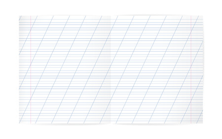 tearing down: Blank lined notebook with lines, oblique diagonal lines and red margin. Double Exercise page for calligraphy. Illustration