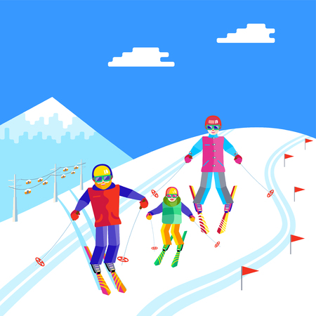 people having fun: Portrait of a family having fun in the snow at the ski resort. Flat Funny people are resting on top of the mountain. Skiers family - mother, father, daughter or son skiing. Illustration