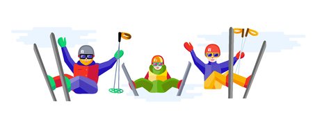 people having fun: Portrait of family having fun in the snow. Flat Cheerful people resting on top of the mountain. Skiers family - mother, father, daughter or son relax during skiing.