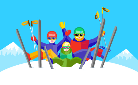 Portrait of family having fun in the snow. Flat Cheerful people resting on top of the mountain. Skiers family - mother, father, daughter or son relax during skiing.