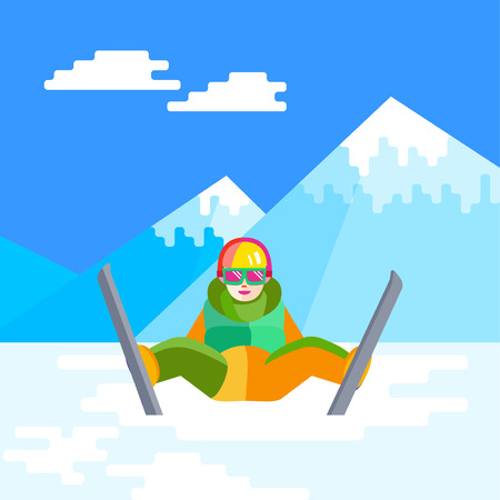 Portrait of child skier having fun in the snow. Flat Cheerful baby sitting and resting at the foot of the mountain. Skier relax during skiing.