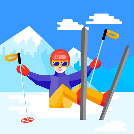 Portrait of a woman skier having fun in the snow. Flat Cheerful female sitting and resting at the foot of the mountain. Skier relax during skiing.