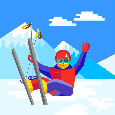 Portrait of a bearded man skier in helmet and goggles having fun in the snow. Flat Cheerful man sitting and resting at the foot of the mountain. Skier relax during skiing.