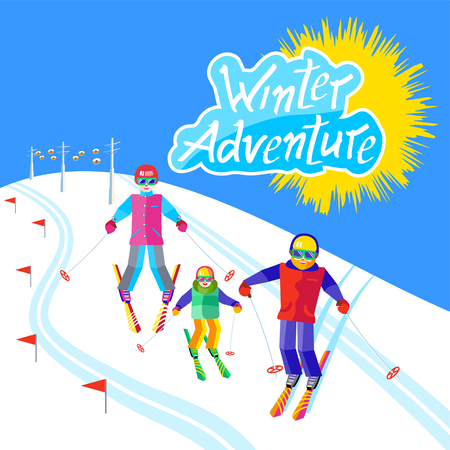 people having fun: Portrait of a family having fun in the snow at the ski resort. Flat Funny people resting on the mountain. Skiers family - mother, father, daughter or son skiing. Inscription Winter Adventure Illustration