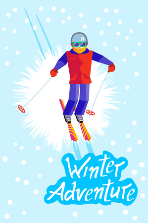 Bearded man skier in helmet and goggles having fun in the winter. Flat Cheerful man skiing, jumping, flying. Inscription Winter Adventure