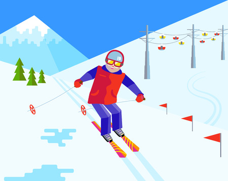 people relaxing: Bearded man skier in helmet and goggles having fun in the snow at the ski resort. Flat vector Cheerful man skiing. Flat funny man resting on top of the mountain