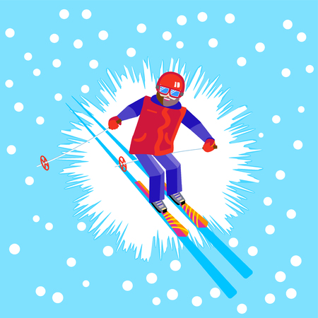 Bearded man skier in helmet and goggles having fun in the winter. Flat Cheerful man skiing, jumping, flying