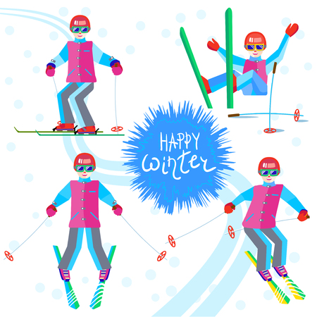 Four female skier - skiing or sitting on a mountain slope. One character young woman in different poses having fun in the snow. Flat cheerful girl Illustration