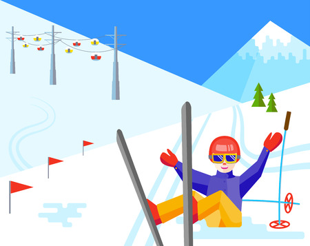 Portrait of a woman skier having fun in the snow. Flat vector Cheerful female sitting and resting at the foot of the mountain. Skier relax during skiing.