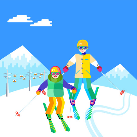 Portrait of a mother and child having fun in the snow at the ski resort. Flat vector funny people are resting on top of the mountain. Skiers family - mother and daughter or son skiing.