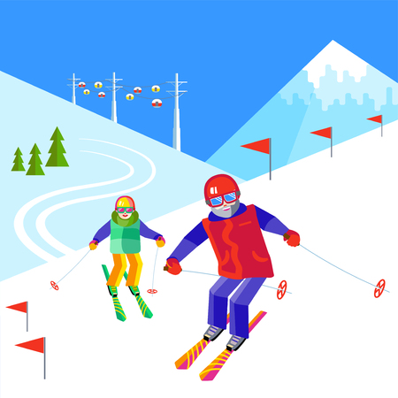 Portrait of a father and child having fun in the snow at the ski resort. Flat vector funny people are resting on top of the mountain. Skiers family - daddy and daughter or son skiing. Illustration