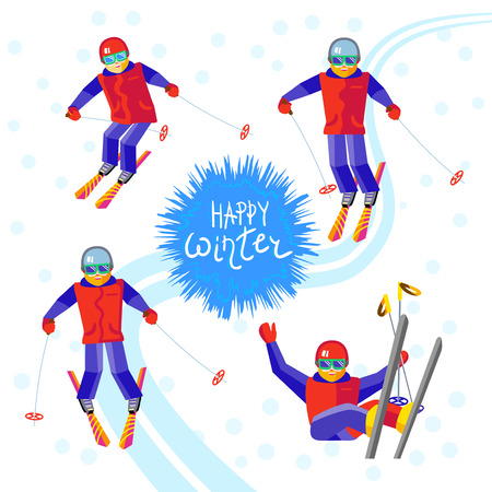 Four Man skier - skiing or sitting on a mountain slope. One character bearded man in different poses having fun in the snow. Flat vector cheerful skier