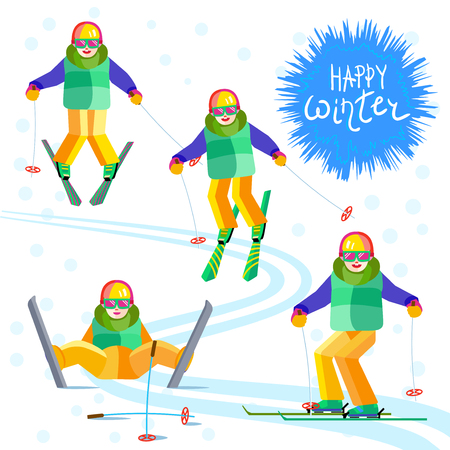 enjoying: Four child skier - skiing or sitting on a mountain slope. One character boy or girl in different poses having fun in the snow. Flat vector cheerful baby