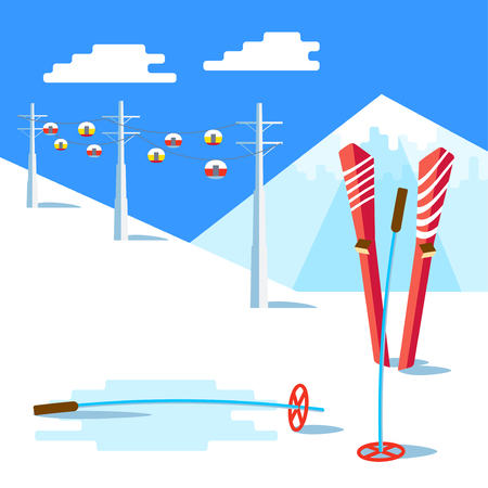 Flat Skis and ski poles standing in snow. Vector Landscape with ski lift, the ski slopes and snowy mountain above. Winter sunny relax day and adventure. Space for text