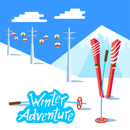 slopes: Flat Skis and ski poles standing in snow. Vector Landscape with ski lift, the ski slopes and snowy mountain above. Winter sunny relax day and adventure. Inscription lettering Winter Adventure