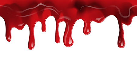Dripping seamless blood border. Flow liquid, drip wet. Thick red ketchup or jam flow down Halloween concept: Blood dripping - Seamless Vector on transparent background
