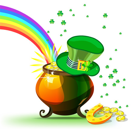 St. Patricks Day poster - vector composition for Saint Patrick Day Irish spring holiday with Hat, Pot, Rainbow, Horseshoe and Clover Leaf for great luck and happy