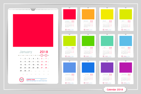monthly calendar for year 2018 vector design template with space for photo and corporate elements