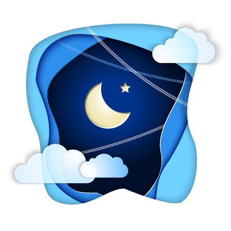 Islamic Crescent and Star in Paper Cut night Sky Clouds for holiday Ramadan Kareem. Concept for celebration for Mawlid birthday of prophet Muhammad, Ramadan Kareem, Eid Mubarak