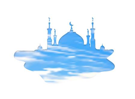 Silhouette of mosque with minarets. Double exposure sky background - Concept for Islamic holiday, for celebration Mawlid birthday of prophet Muhammad, Ramadan Kareem, Eid Mubarak
