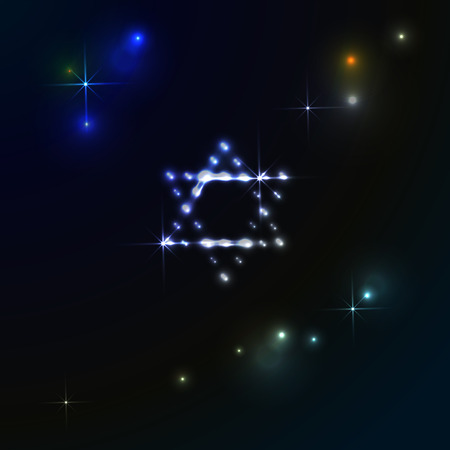 Star of David glows in the Milky Way starry sky - banner for Hanukkah Chanukah. Greeting card for Israel.