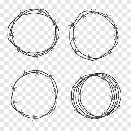 Barbed wire coil. Set for concept design, restricted area, refer to the boundaries of territory. Barbwire Metal fence realistic 3d vector. Round silhouette turns the wire Vetores