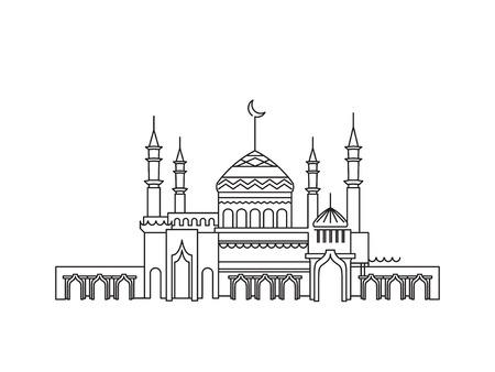 Mosque lineart ramadan Vetores