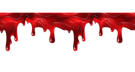 Dripping seamless blood. Flow liquid, drip wet. Thick red ketchup or jam flow down Halloween concept: Blood dripping - Seamless Vector on white background