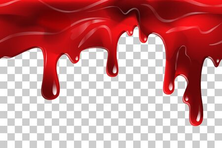 Dripping seamless blood. Flow liquid, drip wet. Thick red ketchup or jam flow down Halloween concept: Blood dripping - Seamless Vector on transparent background Ilustração