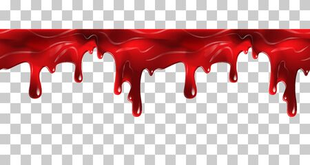 Dripping seamless blood. Flow liquid, drip wet. Thick red ketchup or jam flow down Halloween concept: Blood dripping - Seamless Vector on transparent background  イラスト・ベクター素材