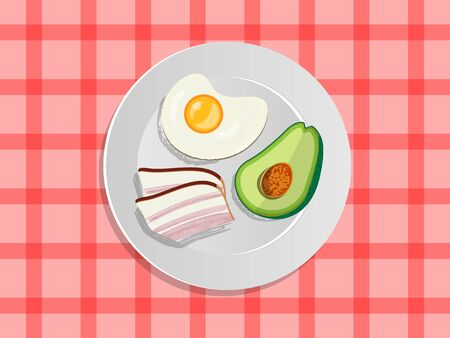 Ketogenic diet nutrition. White plate full of healthy food: avocado, bacon and scrambled eggs, low carb high healthy fats. Vector illustration for keto friendly eating Illustration