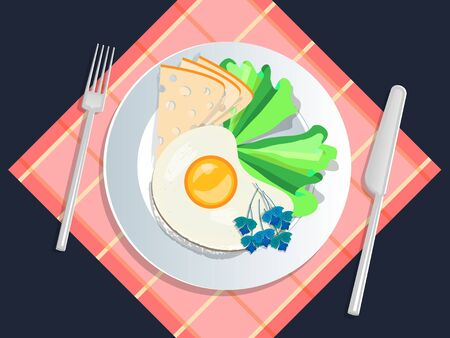 Ketogenic diet nutrition. White plate full of healthy food: Cheese, lettuce, scrambled eggs, basil - low carb high healthy fats. Vector illustration for keto friendly eating