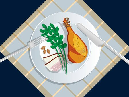 Ketogenic diet nutrition. White plate full of healthy food: Jamon, pork, pork leg, lard, asparagus, nuts, seeds - low carb high healthy fats. Vector illustration for keto friendly eating