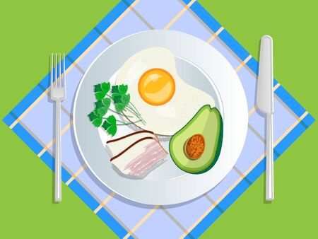 Ketogenic diet nutrition. White plate full of healthy food: avocado, bacon and scrambled eggs, low carb high healthy fats. Vector illustration for keto friendly eating 向量圖像