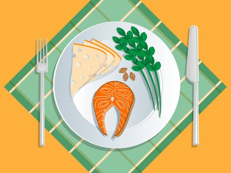 Ketogenic diet nutrition. White plate full of healthy food: Cheese, asparagus, seeds, nuts, salmon, fish, steaks - low carb high healthy fats. Vector illustration for keto friendly eating