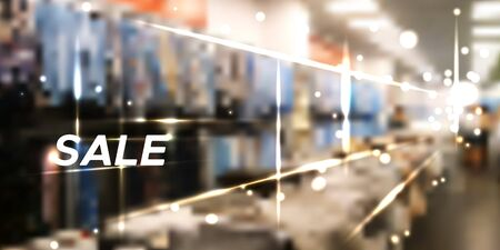 Blurred clothing store with the Sale word on top. Realistic vector backgound. Clothing store advertises season discount. Shopping mall in direct perspective with clothes out of focus and bokeh effect - spase for your text Vettoriali