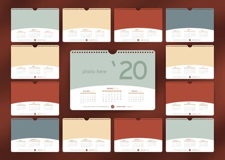 Wall or Desk Monthly Calendar for Year 2020. Vector Design Template with three month at page and Space for Photo and Corporate elements. Landscape Orientation. Set of 12 Months. Week starts monday