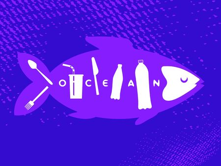 Fish skeleton as plastic trash. Ribs like a bottles, disposable glass, drinking straw, plastic spoon, fork, knife. The problem of microplastics in marine life. Keep the sea concept. Ocean pollution Ilustração