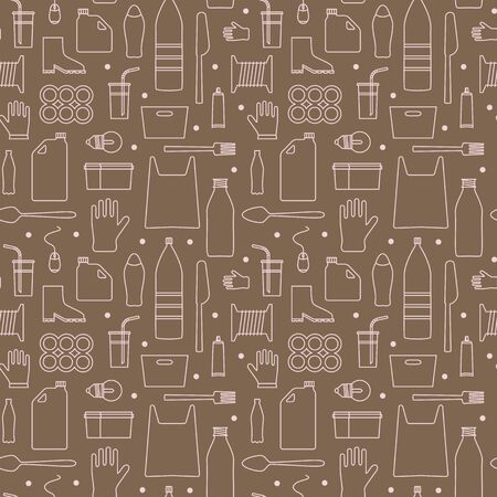 Stop using plastic seamless pattern with flat line icons. Polyethylene pollution awareness endless vector. Thin signs of plastics waste, bag, package, canister, bottle, disposable tableware, cosmetic Ilustração