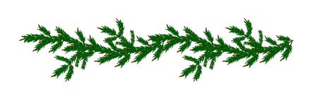 Detailed wide Coniferous christmas garland. Xmas border with fir branches without decorations. Realistic wreath tree for New Year design. Vector Pine needles to create your holiday bouquet  Иллюстрация