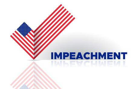 Political election voting poster USA flag check box Yes sign. American flag to impeachment inquiry procedure. State symbol of the USA for official events. Headline for political article news