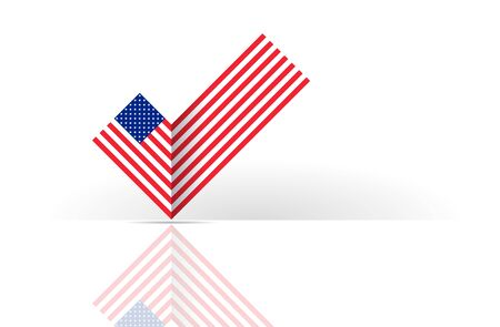 Political election voting poster USA flag check box Yes sign. State symbol of the USA for official events. Headline for a political article news of the day 일러스트