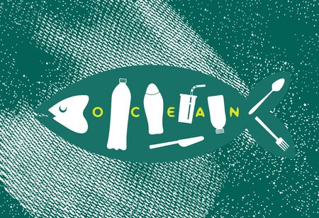 Fish skeleton as plastic trash. Ribs like a bottles, disposable glass, drinking straw, plastic spoon, fork, knife. The problem of microplastics in marine life. Keep the sea concept. Ocean pollution Stock Illustratie