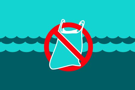 Stop plastic waste symbol. Rubbish Trash bag floating in the ocean. Discarded plastic carrier bag drifting in sea water. Environment protection concept. Disposable packaging waste poisons Marine life Vettoriali