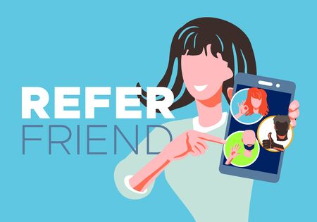 Refer a friend - referral program concept. Woman manager holding smartphone and shows to her friends people as icon, avatar. Character invites acquaintances to marketing promotion, sharing refer code