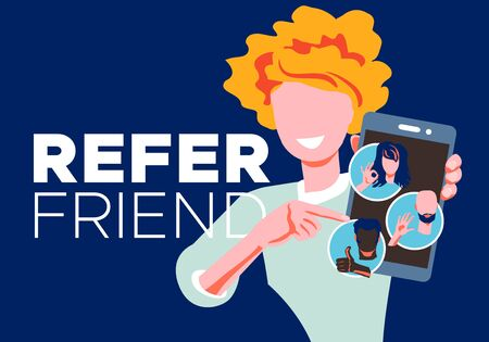 Refer a friend - referral program concept. Woman manager holding smartphone and shows to her friends people icon, avatar. Character invites acquaintances to marketing promotion, sharing refer code