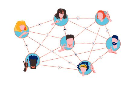 Referral network program marketing concept. Refer a friend - business strategy. Faces different nationalities and cultures gesticulate hands. Social networks, communication via mobile phone, web chats