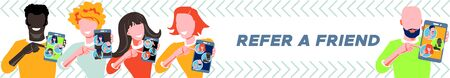 Refer a friend - referral program concept. Group of people of different races and nationalities holding smartphone and shows to friends. Character invites to marketing promotion, sharing refer code