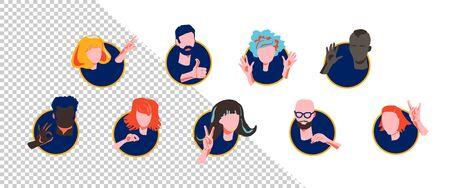 Colección de caras de personajes con diversas expresiones de emociones y gestos que miran por rondas. Curioso, rezando feliz, agitando la mano, asomándose y sorprendido conjunto. Ilustración de personaje de vector plano
