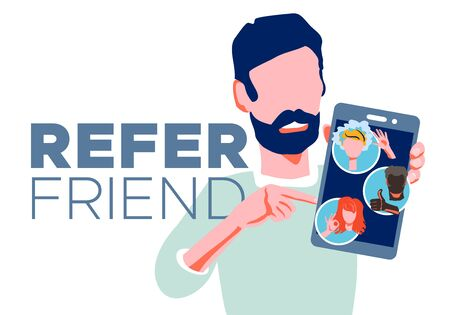 Refer a friend - referral program concept. Bearded man manager holding smartphone and shows to his friends people as avatar. Character invites acquaintances to marketing promo, sharing refer code Ilustrace